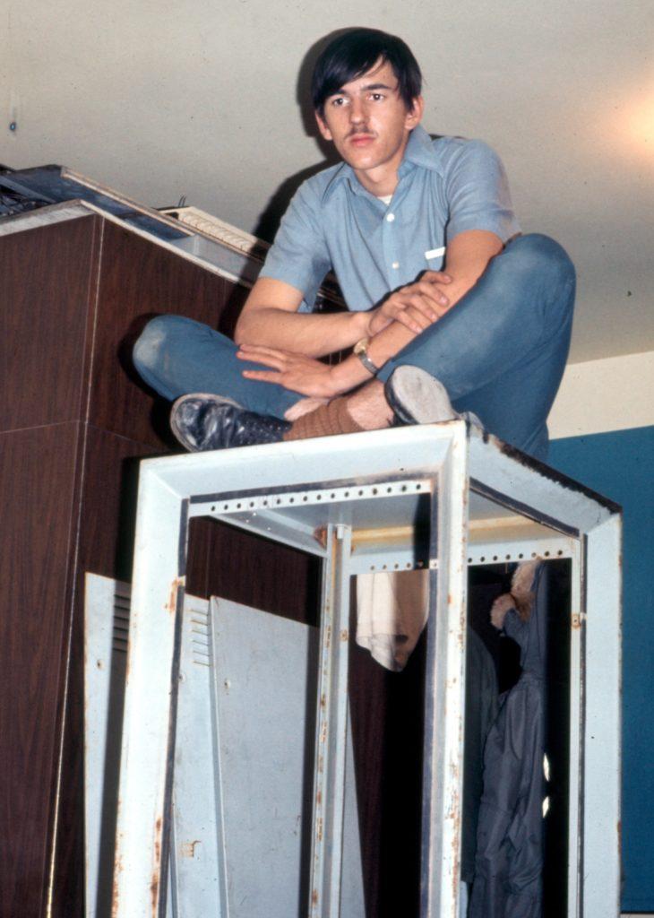 Steve Roberts atop equipment cabinet in 1972