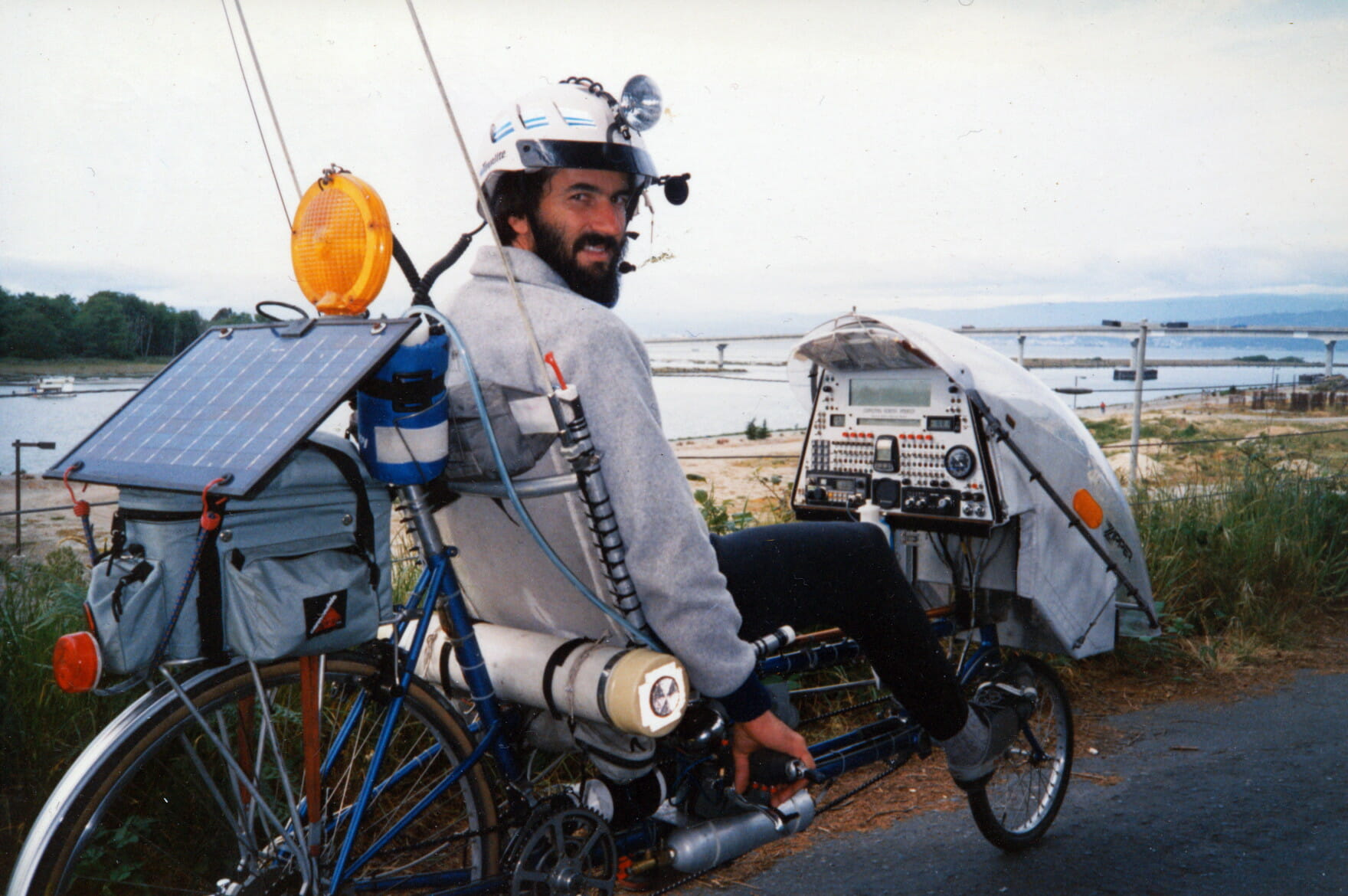The <em>Winnebiko II</em> covered 6,000 miles from 1986-1988, and included a handlebar keyboard to allow writing while riding - click for more. (photo by Karen Greene)