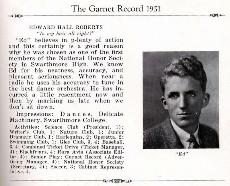 Edward H Roberts - Garnet Record 1931