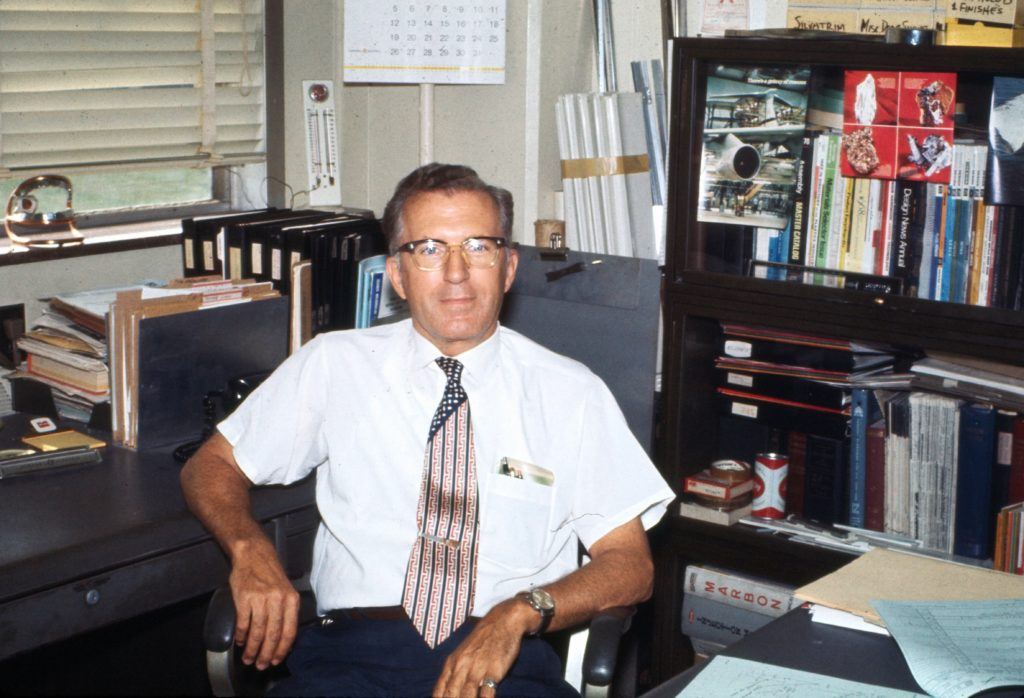 Edward H. Roberts in office at GE, 1970