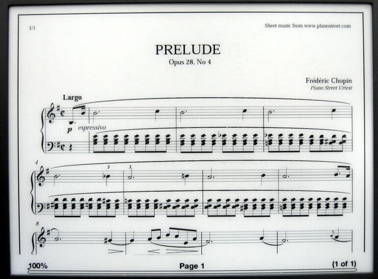 Chopin Prelude on Kindle