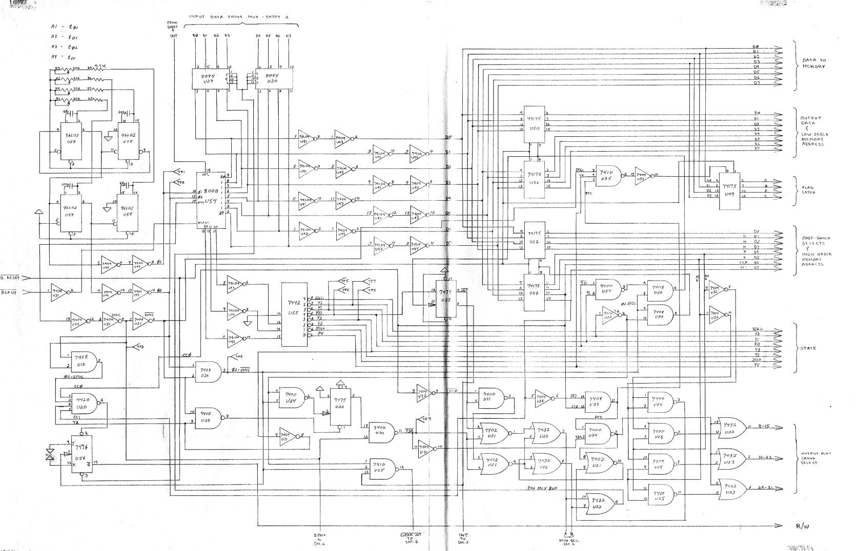 homebrew 8008 computer schematics - 1974