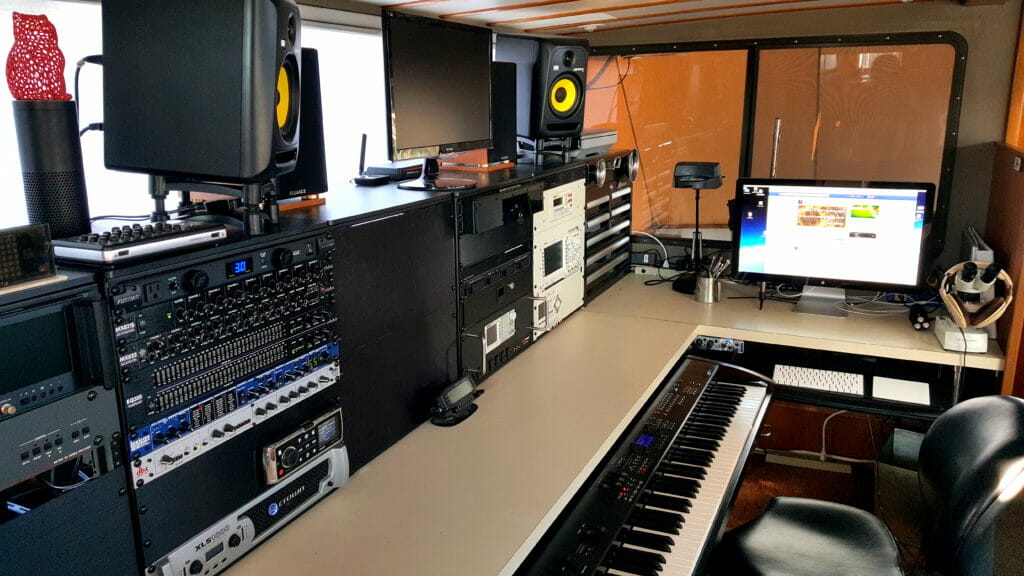 The lab console aboard Datawake (photo shows work in progress - the blank cabinet in the middle is now getting communications gear)