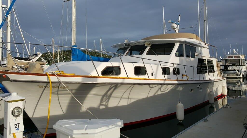 My new boat, Datawake, at her slip in Friday Harbor