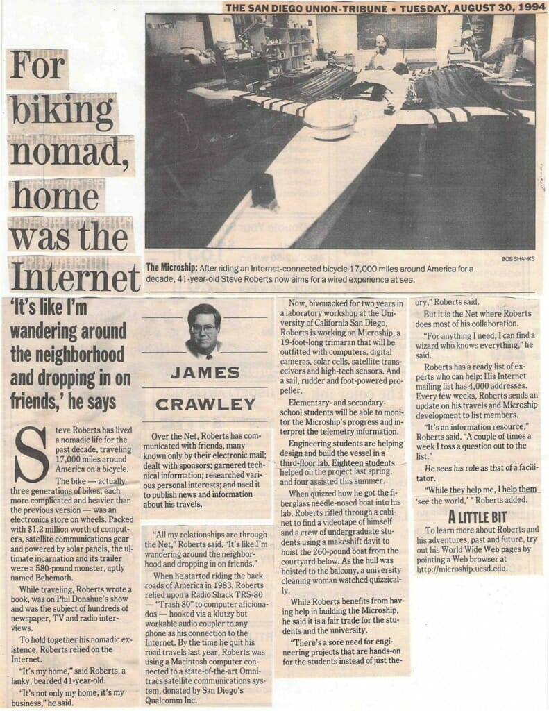 For Biking Nomad, Home was the Internet - San Diego Union-Tribune 8/30/94