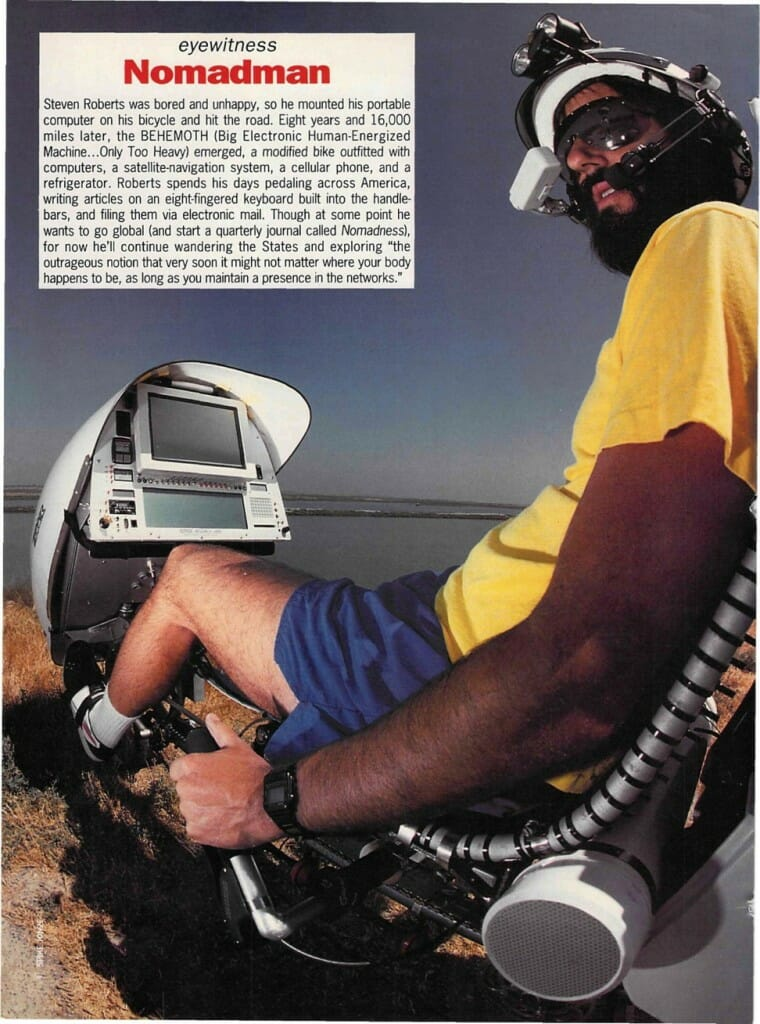 Nomadman photo-caption in Details Magazine, August 1991