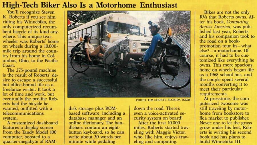 High-Tech Biker is Motorhome Enthusiast