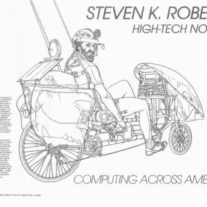 Steve Roberts on Winnebiko II, drawn by Robert Dvorak