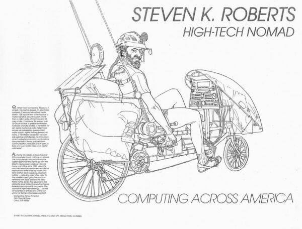 Steve Roberts on Winnebiko II, drawn by Robert Dvorak