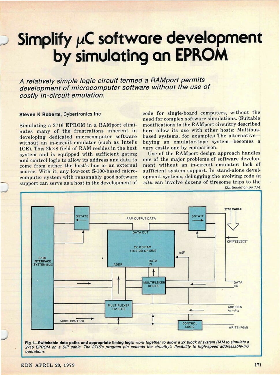 Simplify Microcomputer Software Development By Simulating An Eprom Simple Logic Circuit A 2716 In Ramport Eliminates Many Of The Frustrations Inherent Developing Dedicated Without