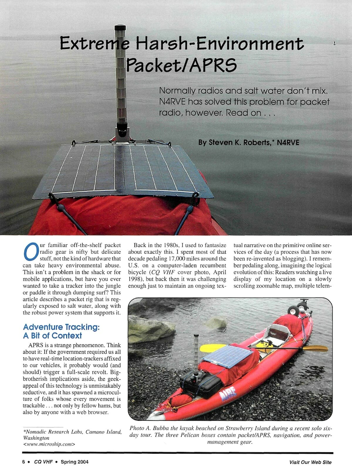 Extreme Harsh-Environment Packet APRS in Kayak - CQ VHF ... on