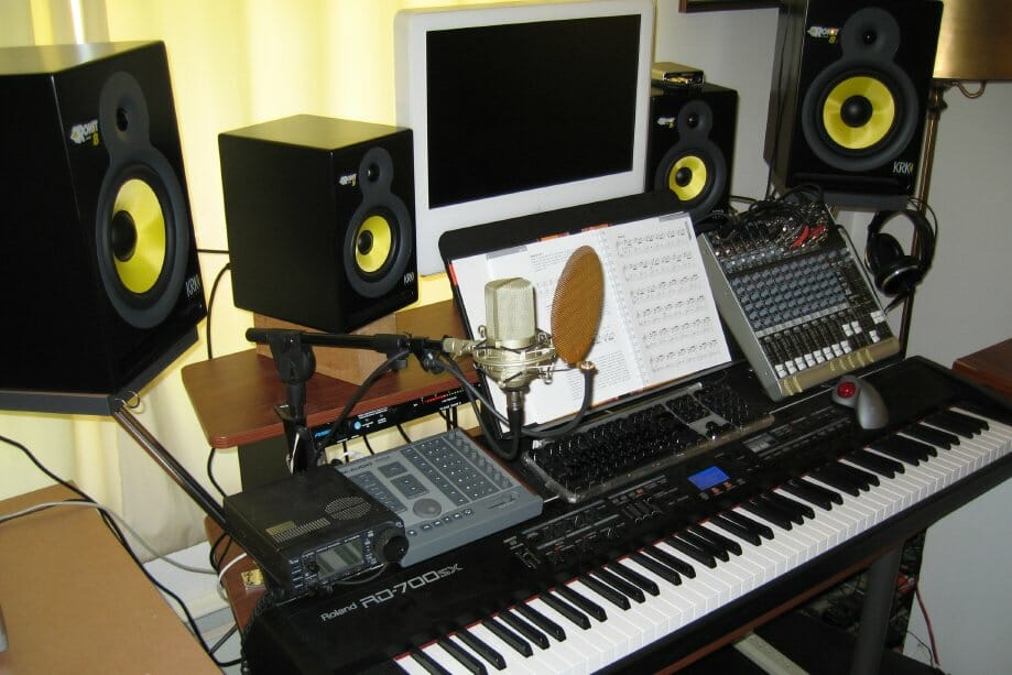 "Completed Music Workstation... over time, I wanted more ""depth"" and added the larger studio monitors. The resulting spread of sound is excellent."