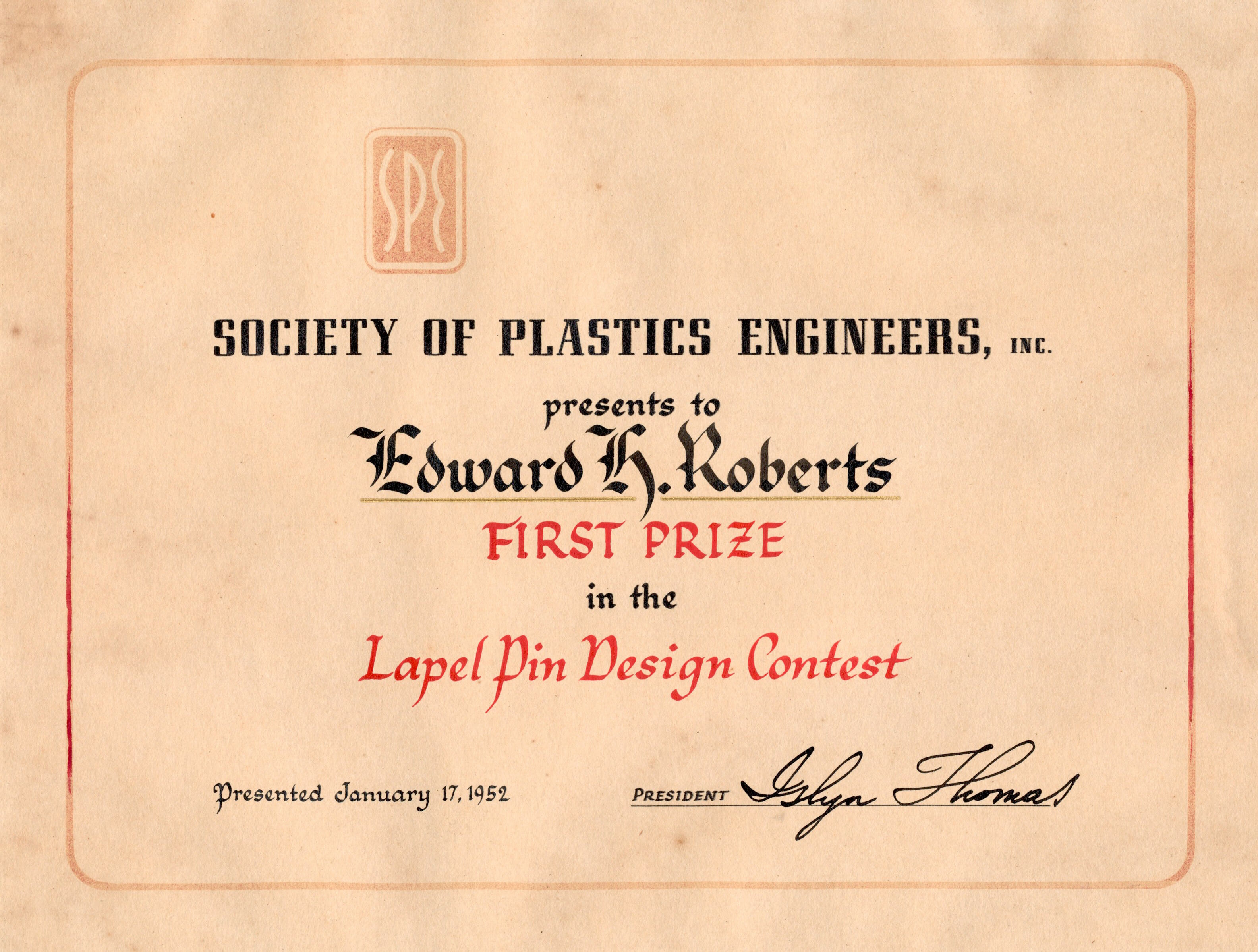 Society of Plastics Engineers 1942-1952 SPE history batch
