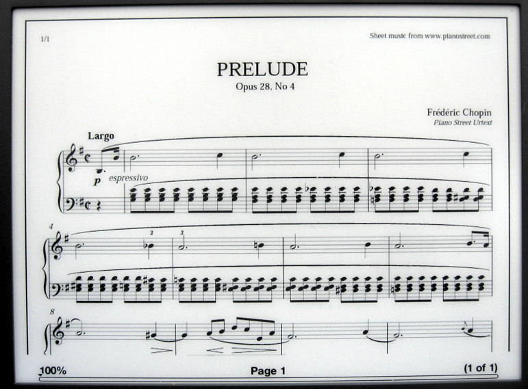 Chopin Prelude on Kindle